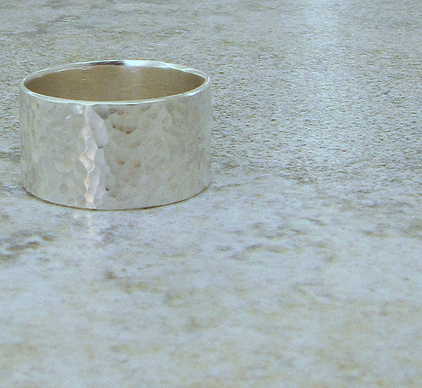 Silver Hammered Ring Mens Ring Wide Wedding Band