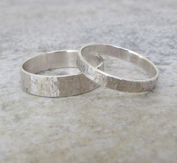 Silver Wedding Bands Hammered Silver Wedding Ring Set Distressed Squares Wedding Bands