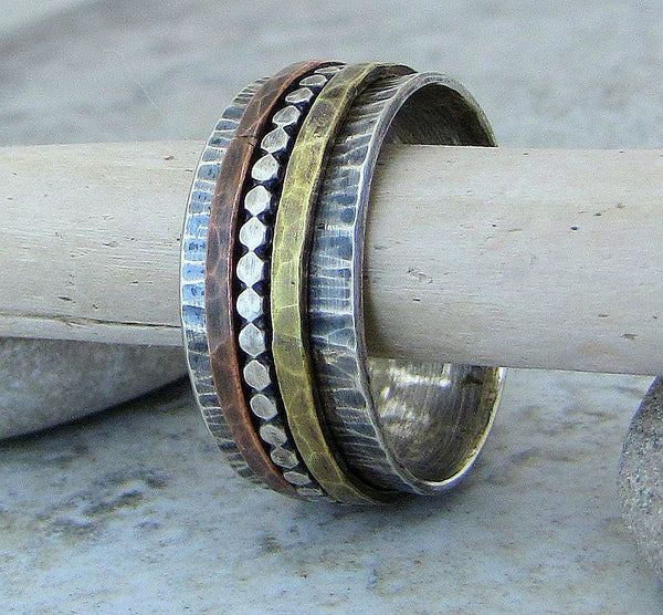 Silver Copper Brass Spinner Ring Hammered Antiqued Wide Band