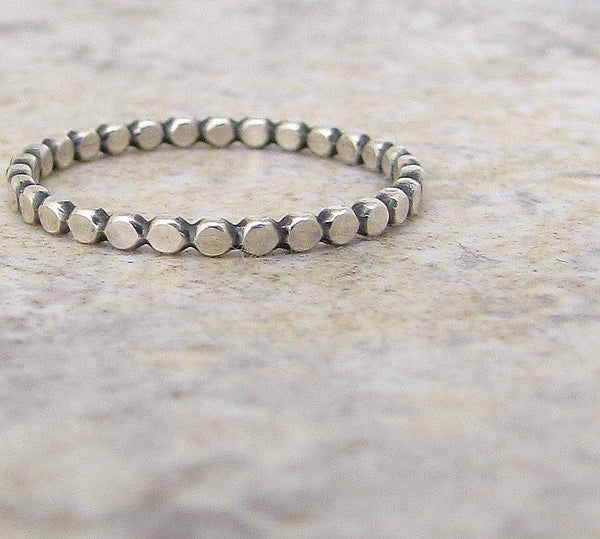 Stacking Ring Silver Dot Ring Hammered Silver Stacking Beaded Ring Silver