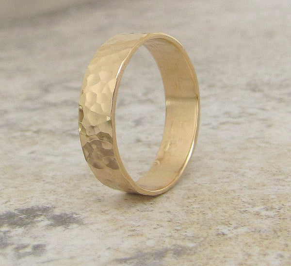 Mens Wedding Band Gold Wedding Ring Hammered 14K Wedding Band Engraved Customized