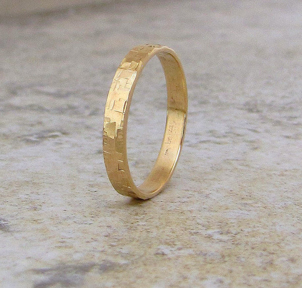 Gold Wedding Band Mens Hammered Wedding Ring Distressed Squares 14K Engraved Customized Personalized