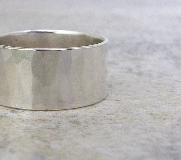 Mens Wedding Band Hammered Silver Wedding Ring Mens Wide Silver Ring First Finger Ring Rustic Wedding Rings Unique Wedding Bands SilverSmack