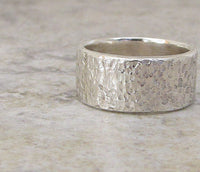 Mens Silver Ring Hammered Wedding Band Distressed Wide Thick Wedding Ring-Heavy Duty