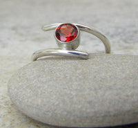 Red Garnet Ring Silver Garnet Ring January Birthstone Ring