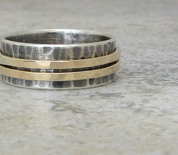 Mens Wedding Band Gold Spinner Ring Wedding Ring 14k Gold Spinner Ring