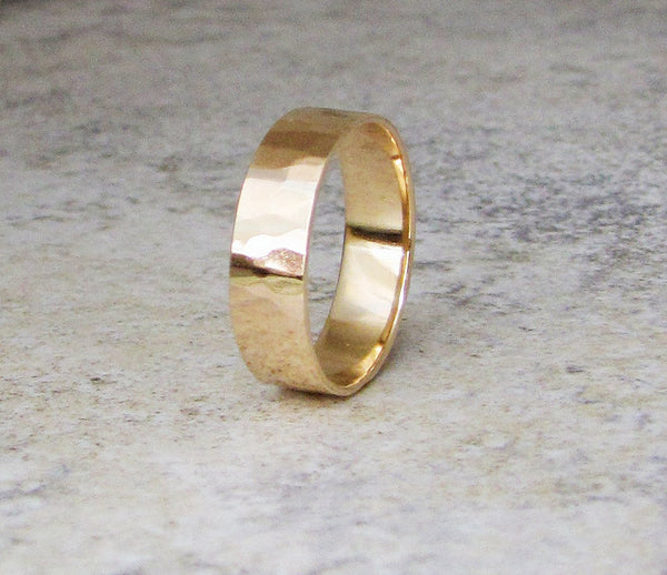 Gold Wedding Ring Mens Wedding Band Hammered 14K Gold Band Engraved Customized Personalized