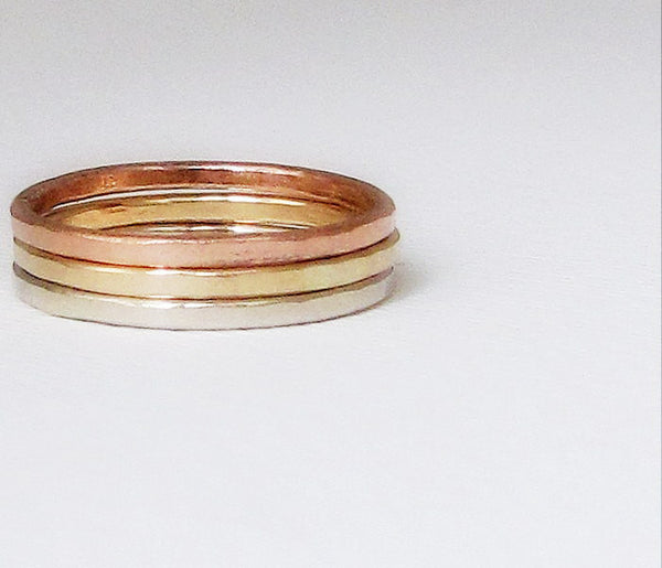 Stacking Gold Rings White Gold Yellow Gold Rose Gold Hammered Stacking Rings Gold Wedding Ring 14k Gold Wedding Bands