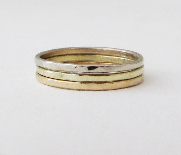 Gold Stacking Rings Yellow Gold Green Gold White Gold Hammered Stacking Rings 14k Gold Wedding Bands