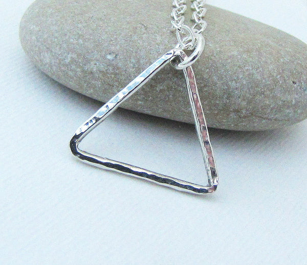 Triangle Necklace Silver Open Triangle Necklace Geometric Silver Necklace Hammered Triangle Necklace Mountain Necklace Minimalist Necklace