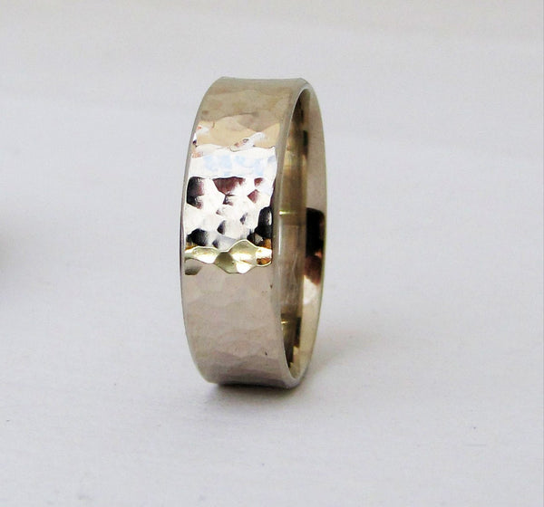 Mens Wedding Band White Gold Wedding Ring Hammered Gold Ring 14K Engraved Customized