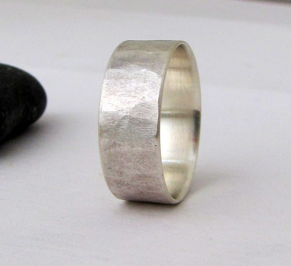 Rough Hammered Wedding Band Hammered Silver Ring Mens Wedding Band Wedding Ring