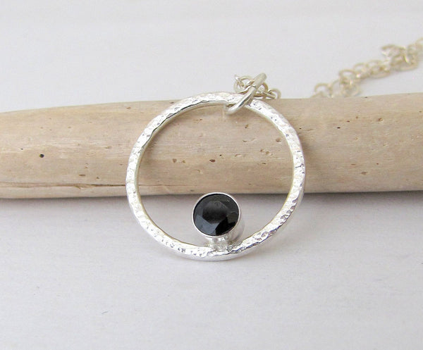 Silver Circle Necklace Black Sapphire Necklace Silver Orbit Necklace September Birthstone Jewelry