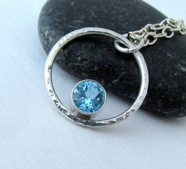 Silver Circle Necklace Blue Topaz Necklace Silver Orbit Necklace December Birthstone