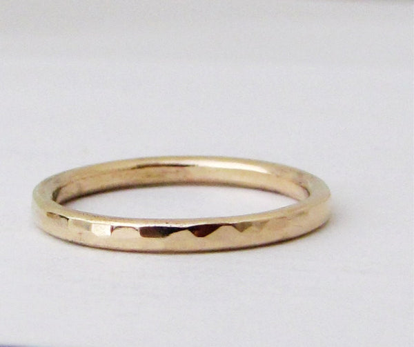 Men's Plain Wedding Band Simple Gold Wedding Ring Women's Rustic Wedding Bands 14k