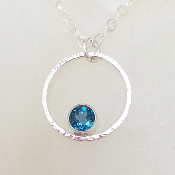 London Blue Topaz Necklace Silver Circle Necklace December Birthstone Necklace