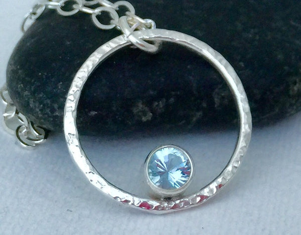 Aquamarine Necklace Silver Circle Necklace March Birthstone Necklace