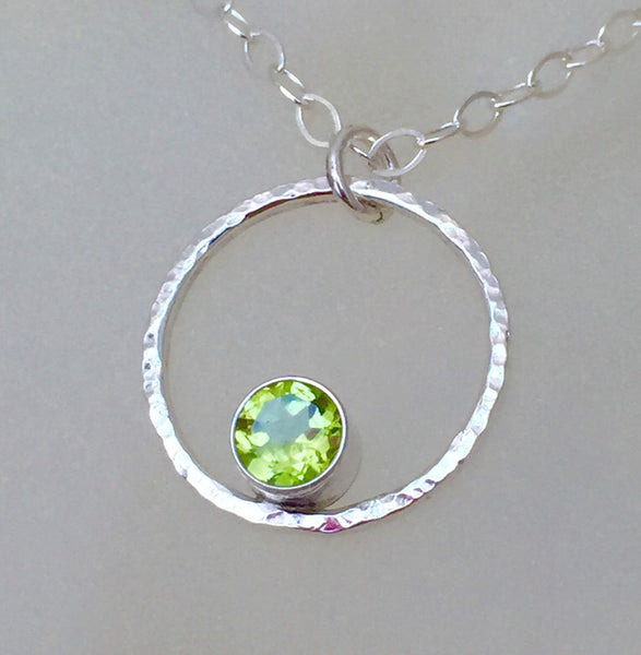 Green Peridot Necklace Silver Circle Necklace August Birthstone Necklace