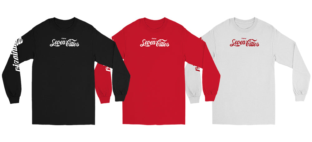 Seven Sharks Classic Pack Red, White and Black Longsleeve Tshirts