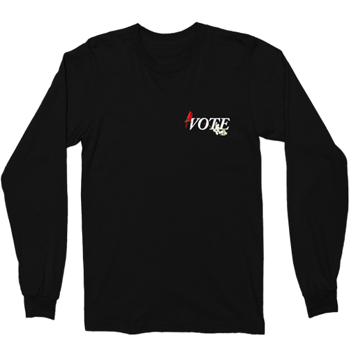 SEVEN SHARKS BLACK VA VOTE L/S TEE FRONT