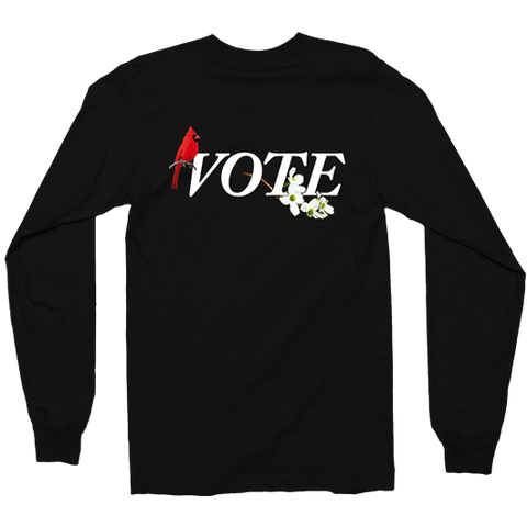 SEVEN SHARKS BLACK VA VOTE L/S TEE BACK