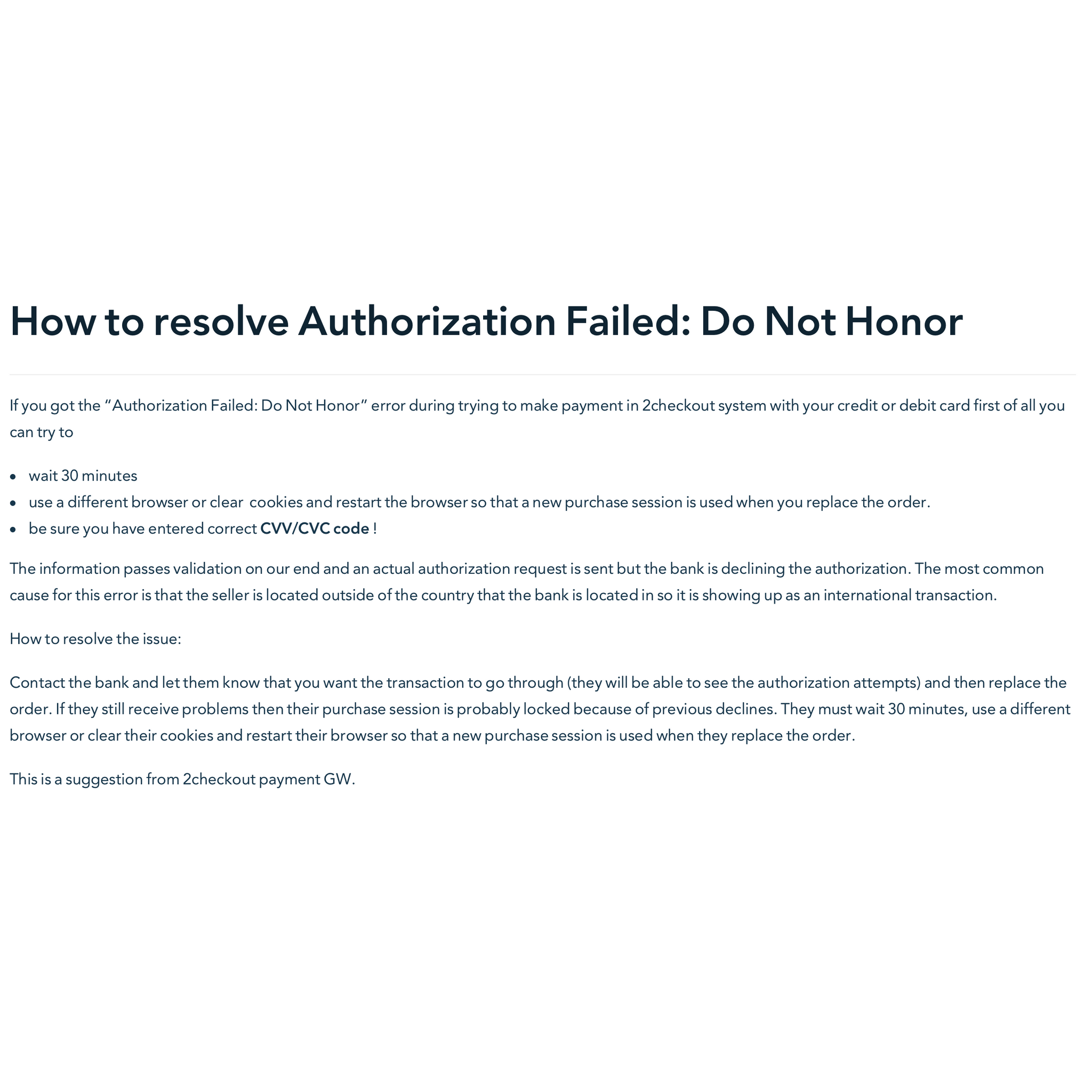 How to resolve Authorization Failed: Do Not Honor