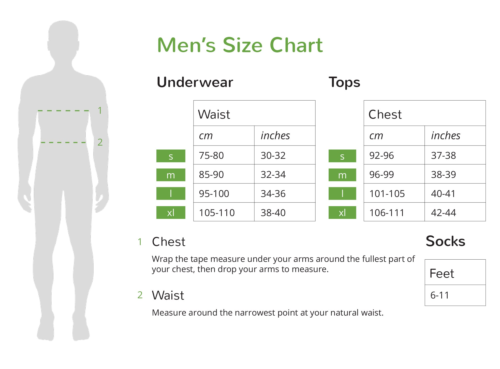 Boody Men's Size Chart