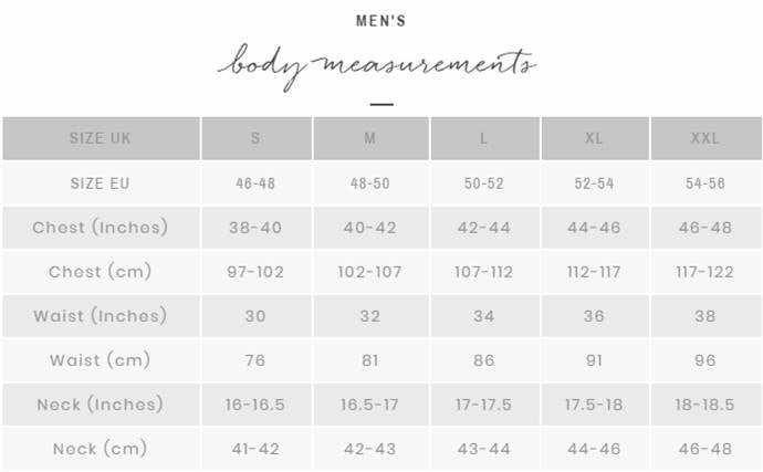 Men's size chart Thought