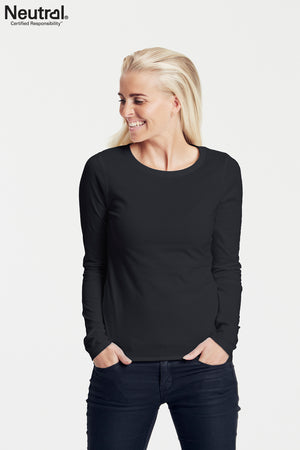 Organic Cotton Long Sleeve Top - Black