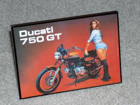 Vintage Ducati Desk Photo 750 GT Sport SS with the girl