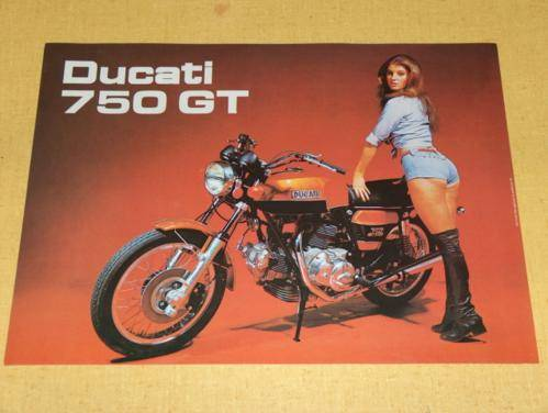 NOS Ducati 750 GT Brochure 'the one with THE GIRL' sport