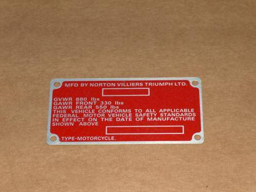Norton 850 Commando Frame ID Plate MARK 3 roadster interstate