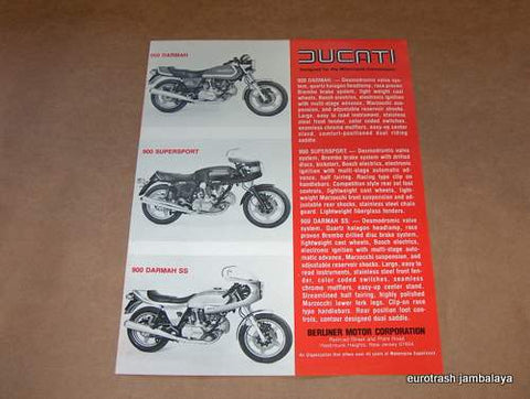 NOS Ducati Darmah 900 SS SD Brochure 1 sheet/2-sided