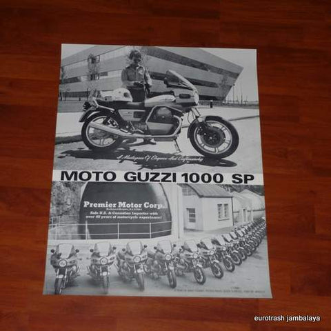 Moto Guzzi 1000 SP Poster NOS factory wind tunnel mandello