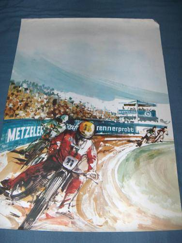 Vintage ESO Jawa Poster by Metzler NOS a speedway beauty ahrma