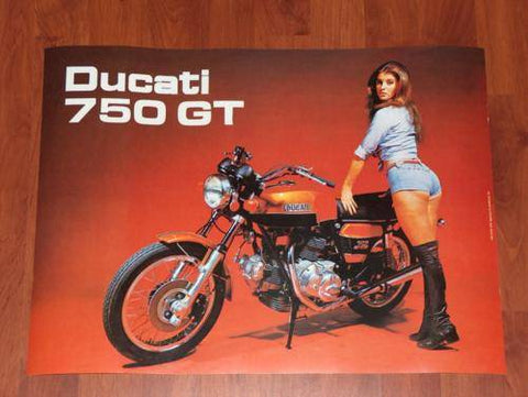 Vintage Ducati Poster 750 GT the one with that girl...