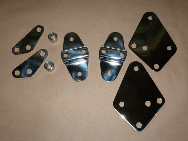 STEPPED Norton Commando STAINLESS Muffler Mount Plate SET 750 850 peashooter
