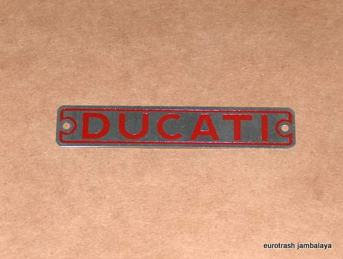 Ducati Single Seat Badge Plate NEW 160 250 350 450 bevel