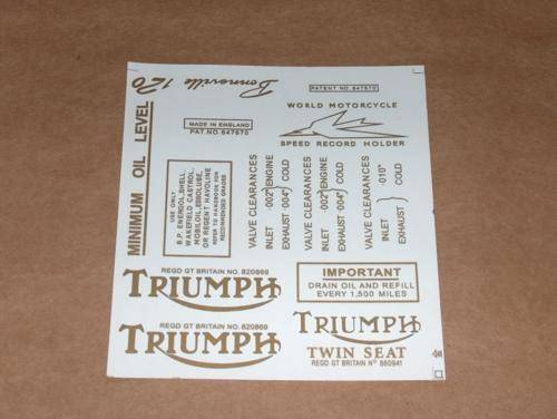 Triumph Pre-Unit Decal Set 1 trophy bonneville 500 650