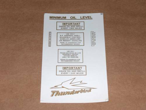 Triumph Pre-Unit Decal Set 2 trophy thunderbird 500 650