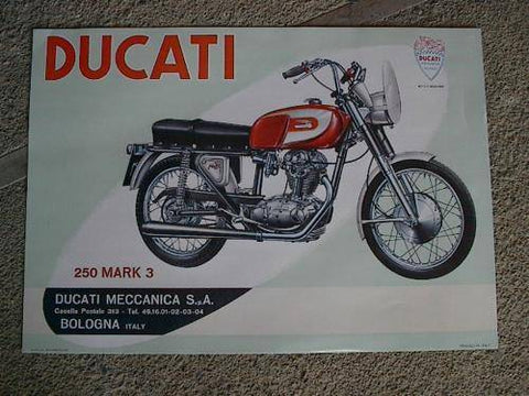 Ducati Single 250 Mark 3 and Scrambler Posters, a pair, bevel