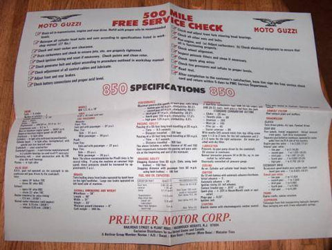 Moto Guzzi 850 Specification Poster nos Eldorado