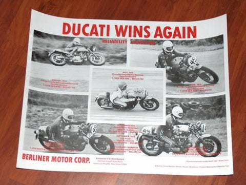 Vintage Ducati Racing Poster Cook Neilson desmo sport 750