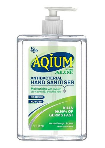 Ego Aqium with Aloe Anti-Bacterial Hand Sanitiser Gel, 1L