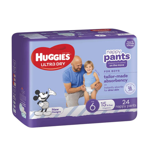 Huggies Ultra Dry Boy Nappy Pants | Size 6 15kg & Over | 24 Pack