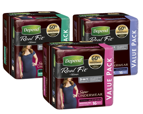 Depend Real Fit SUPER Underwear for Women | BULK PACK 16 per pack