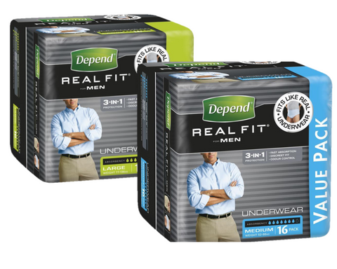 Depend Real Fit Underwear for Men | BULK PACK 16 per pack