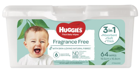 Huggies Baby Wipes Unscented Tub (64 pack)