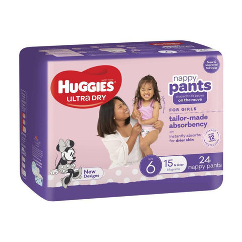 Huggies Ultra Dry Girl Nappy Pants | Size 6 15kg & Over | 24 Pack