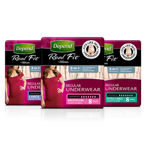 Depend Real Fit Regular Underwear for Women | Pack of 8
